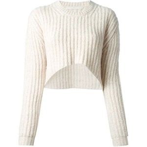 Thakoon Edition ivory crop pullover wool sweater